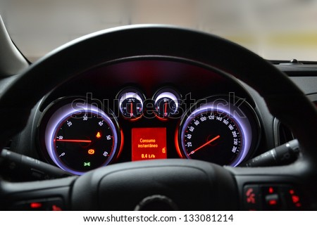 A modern and elegant car cockpit. - stock photo