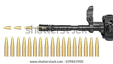 A modern assault rifle with a scope used by the military. - stock photo