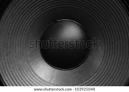 A modern black amplifier audio speaker image - stock photo
