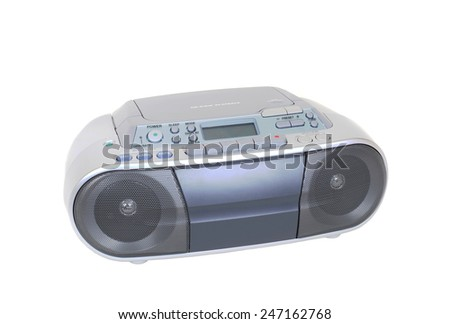 A Modern Cassette, CD Player and Radio Isolated on White - stock photo