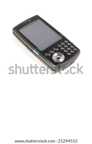 A modern cell phone isolated over white. - stock photo