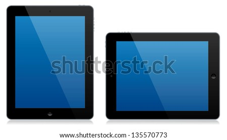 A modern computer tablet isolated in both the portrait and landscape position with reflections