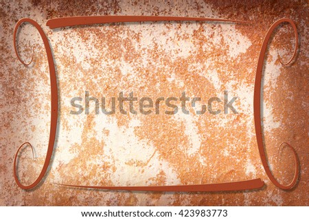 A modern decorative frame with a rusty background with texture. Beige, rust and brown colors