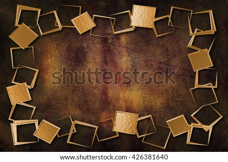 A modern decorative metallic gold frame with a textured background. Gold and brown colors