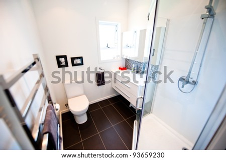 A modern designer bathroom - stock photo