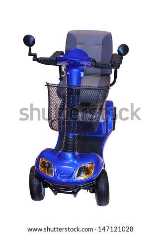 A Modern Electric Disability Scooter with Four Wheels. - stock photo