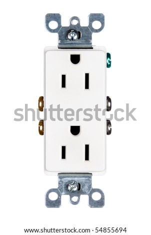 A modern electrical power outlet isolated on white. - stock photo