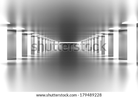 A modern hallway interior. 3d illustration. - stock photo