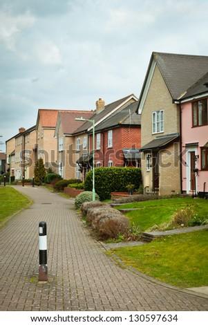 A modern housing development in Bury St Edmunds, England - stock photo