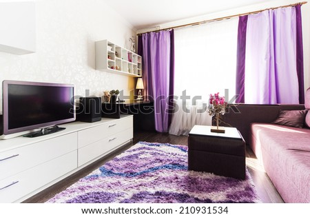 A modern living room inside a new flat  - stock photo
