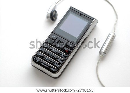 A modern mobile phone and the wired head-phone