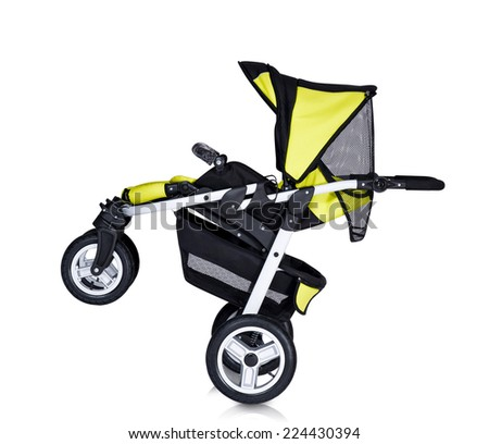 A modern pram isolated - stock photo