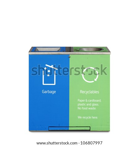 A modern recycle bin with garbage and recycle symbols printed on its side, isolated against white.