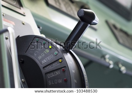 A modern ships telegraph close up - SLOW SPEED AHEAD - stock photo