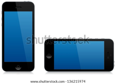 A modern smart phone isolated in both the portrait and landscape position with reflections