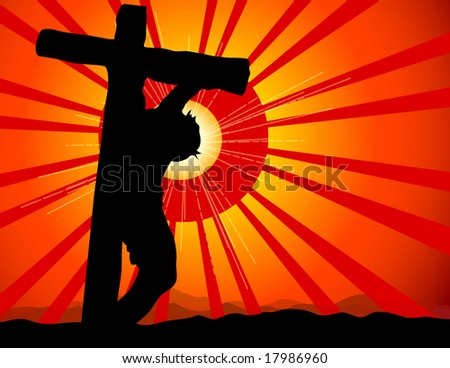 A modern starburt hilights this calvary image. - stock photo