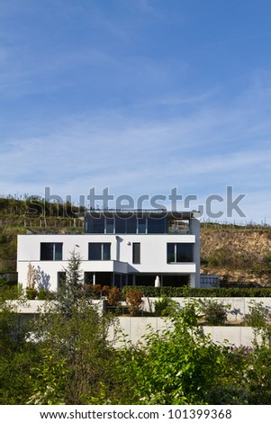 A modern style villa in the vineyards of krems, wachau, austria - stock photo