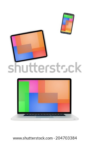 A modern technology device with a colour background