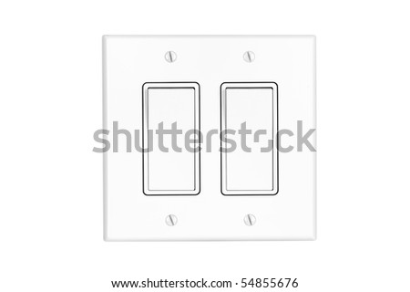 A modern white dual toggle electrical light switch isolated on white.