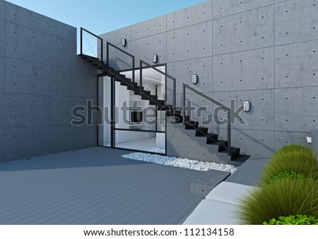 A modern white office with terraces and open spaces - stock photo