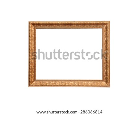 A modern wood frame with classic carved leaves design on white background - stock photo