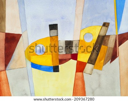 a modernist abstract watercolor - stock photo