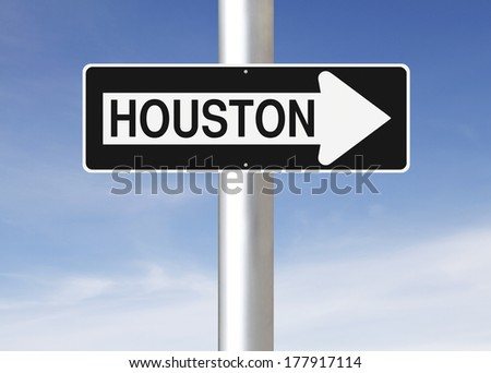 A modified one way sign indicating Houston (USA)