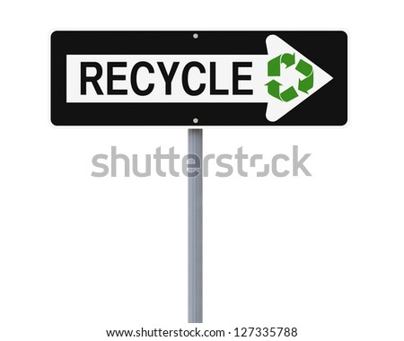 A modified one way sign on recycling (isolated on white) - stock photo