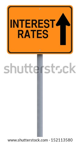 A modified one way sign on the increase of interest rates  - stock photo