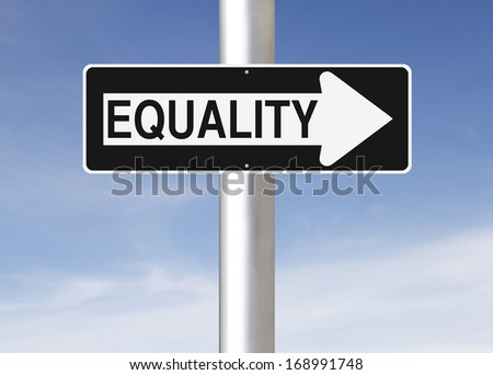 A modified one way street sign indicating Equality  - stock photo