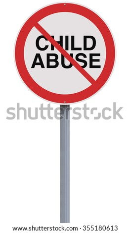 A modified road sign on Child Abuse