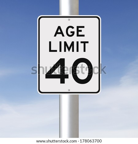 A modified speed limit sign indicating an age limit of forty