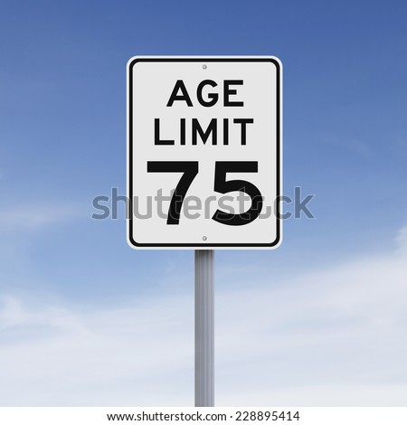 A modified speed limit sign indicating an age limit of seventy five