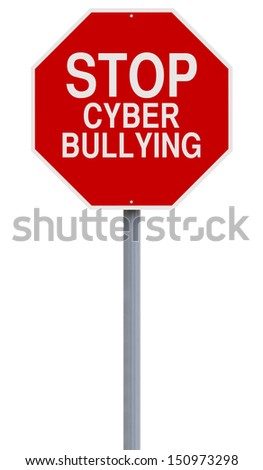 A modified stop sign on Cyber Bullying  - stock photo