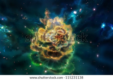A molecular cloud, sometimes called a stellar nursery if star formation is occurring within, is a type of interstellar cloud - stock photo