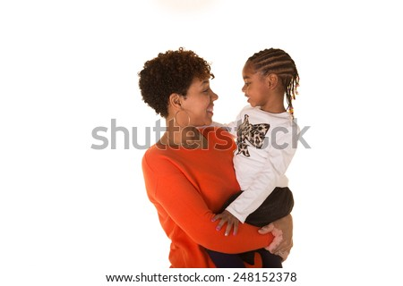 A mom and her daughter - stock photo