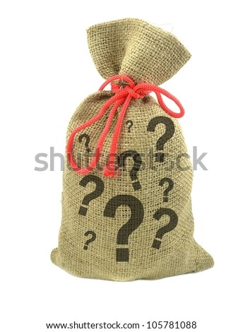 A money bag with question marks. Financial risks concept - stock photo