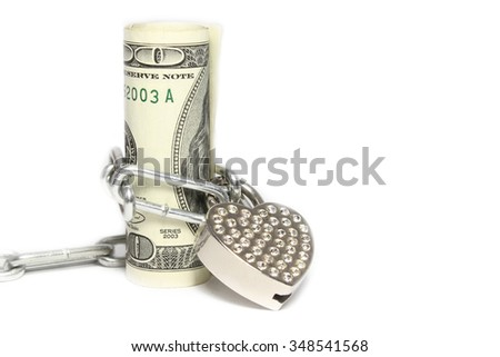 a Money dollars with lock on a white background - stock photo
