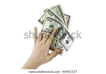 a money in a hand is isolated on a white background