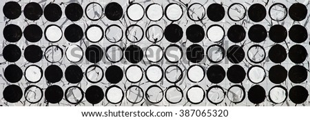 a monochrome long thin grid painting from 3 tones white/grey/black - stock photo