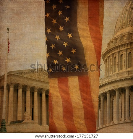 A montage including the Supreme Court, the United States Capitol dome and an American flag, digitally aged and distressed.