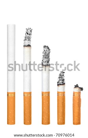 A montage of cigarettes during different stages of burn.  Each is isolated on white. - stock photo