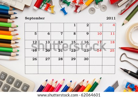 a monthly calendar September  2011. Series - stock photo