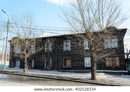 A monument in Novosibirsk - the old wooden house.