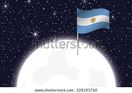 A Moon Illustration with the Flag of Argentina