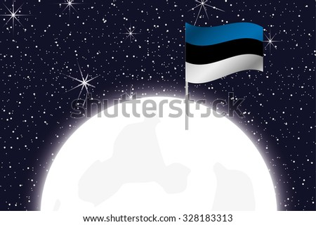 A Moon Illustration with the Flag of Estonia