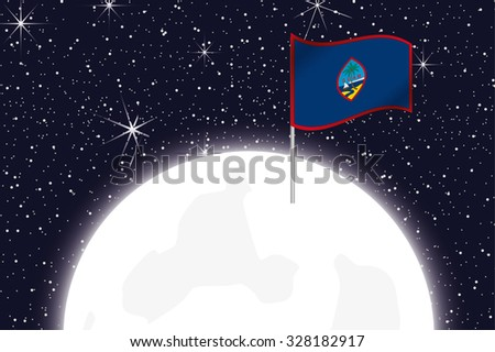 A Moon Illustration with the Flag of Guam