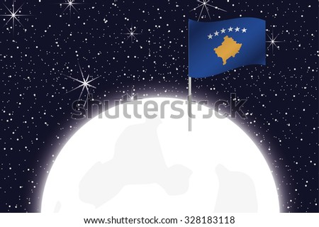 A Moon Illustration with the Flag of Kosovo