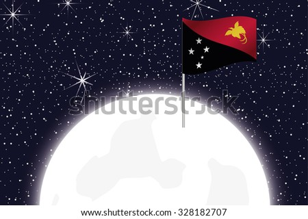 A Moon Illustration with the Flag of Papua New Guinea