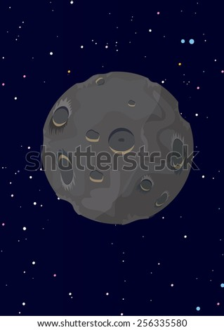 A moon in space, this is a single moon in space in front of a star field. This cartoon moon has many craters and is grey in color. - stock photo
